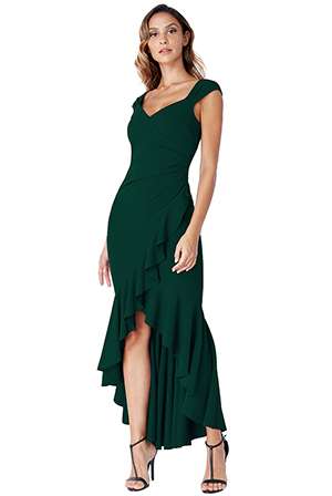 Wholesale-High-Low-Frill-Hem-Maxi-Dress