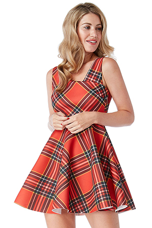 Wholesale-Tartan-Skater-Dress