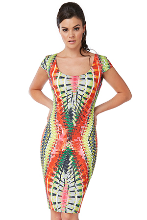 Wholesale-Tribal-Print-Bodycon-Midi-Dress
