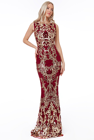 Wholesale-Stephanie-Pratt-Sequin-Maxi-Dress-with-Scalloped-Hem