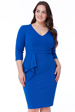 Wholesale-Plus-Size-Three-Quarter-Sleeve-Midi-Dress-with-Frill-DR1889P