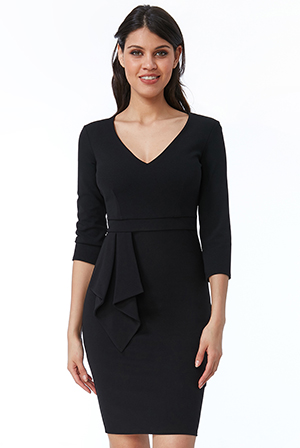 Wholesale-Three-Quarter-Sleeve-Midi-Dress-with-Frill