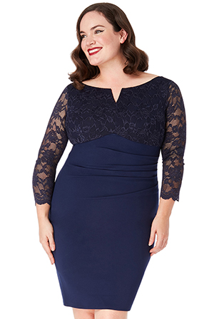 Wholesale-Plus-Size-Lace-Top-Midi-Dress