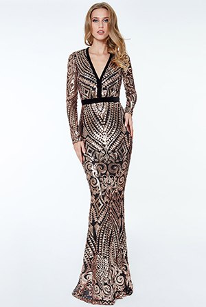 Wholesale-Sequin-and-Mesh-Maxi-Dress
