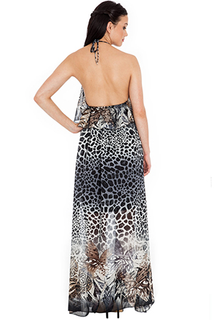 Wholesale Halter neck floaty animal print maxi