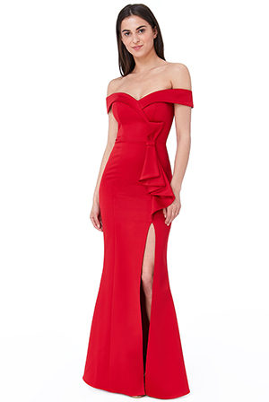 Wholesale-Satin-Bardot-Bow-Maxi-Dress
