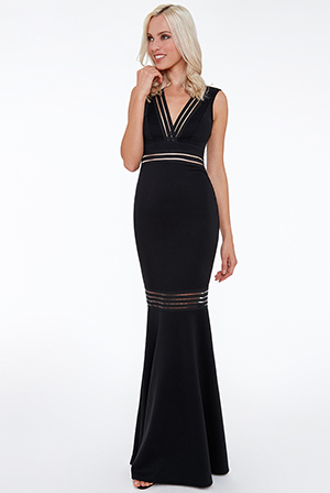 Wholesale-Elastic-Striped-Maxi-Dress