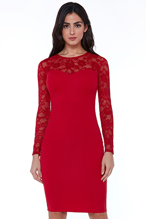 Wholesale-Lace-Neck-Midi-Dress
