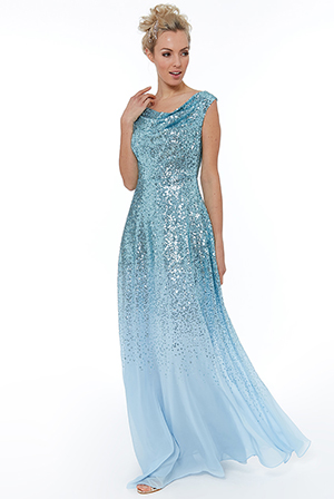 Wholesale-Pleated-Bodice-Sequin-and-Chiffon-Maxi-Dress
