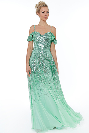 Wholesale-Flutter-Sleeve-Sequin-and-Chiffon-Maxi-Dress