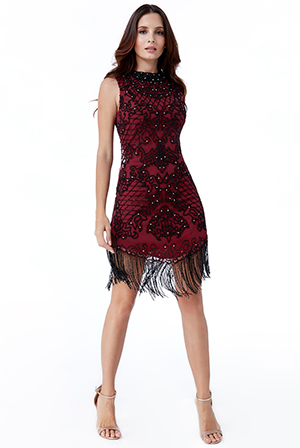 Wholesale-Hand-Embellished-Fringe-Hem-Mini-Dress-DR2057