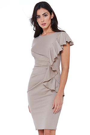Wholesale-One-Side-Frill-Midi-Dress
