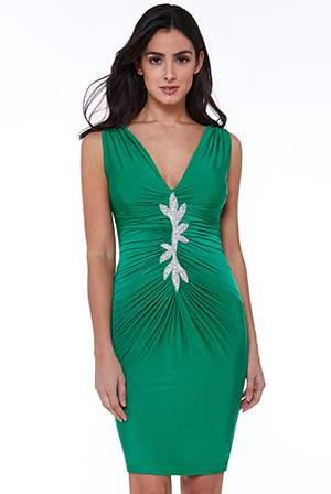 Wholesale-Leaf-Embellished-Ruched-Dress
