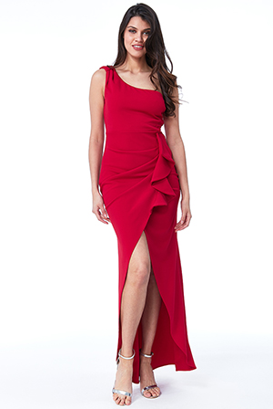 Wholesale-One-Shoulder-Maxi-with-Frill-Pleat