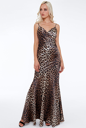 Wholesale-Satin-Strappy-Animal-Print-Maxi