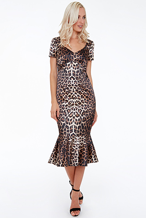 Wholesale-Satin-Animal-Print-Midi-with-Frill-Hem
