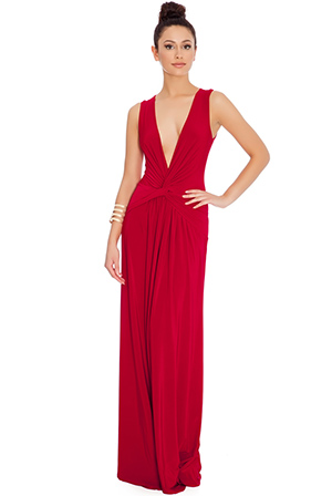 Wholesale Deep V Knotted Front Maxi Dress