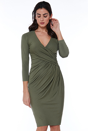 Wholesale-Pleated-Wrap-Style-Midi-Dress
