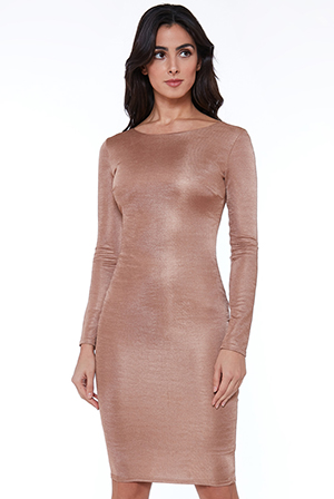 Wholesale-Long-Sleeved-Fitted-Midi-Dress-with-Zip-Detail_2
