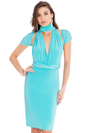 Multi-tie-deep-V-dress