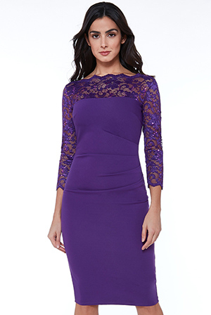 Wholesale-Fitted-Midi-Dress-with-Scalloped-Lace-Neckline_5