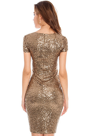 Wholesale Short Sleeve Ruched Sequin Midi Party Dress