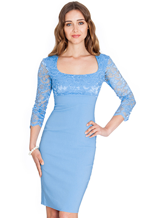 Scoop-Neck-Lace-And-Bengaline-Dress