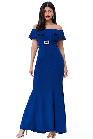 Wholesale-Frilled-Bardot-Maxi-Dress-with-Diamante-Trim-DR2344