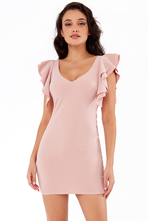 FRILL-SLEEVE-CROSS-BACK-MINI-DRESS