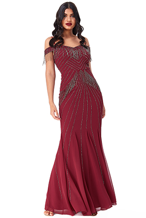 Wholesale-Hand-Embellished-Fringe-Bardot-Maxi-Dress-DR2393