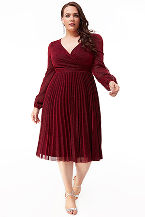 Wholesale-Plus-Size-Pleated-Glitter-Midi-with-Long-Sleeves-DR2410P