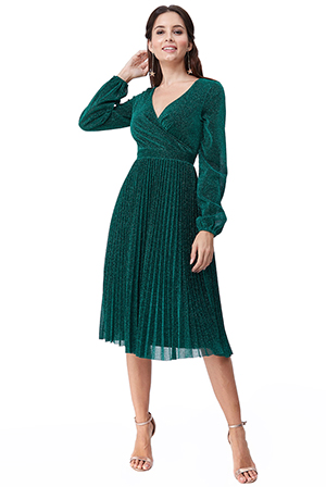 Wholesale-Pleated-Glitter-Midi-with-Long-Sleeves-DR2410