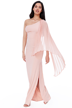 Wholesale-Asymmetric-Chiffon-Sleeve-One-Shoulder-Maxi-Dress-DR2413