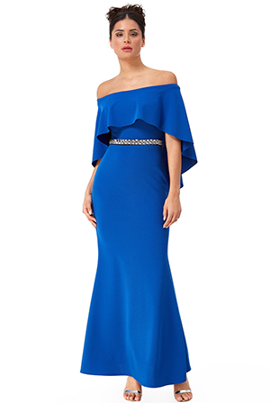 Wholesale-Cape-Maxi-Dress-with-Diamante-Belt-DR2415