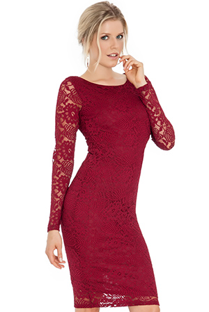 Wholesale Lace Long Sleeve Midi Dress