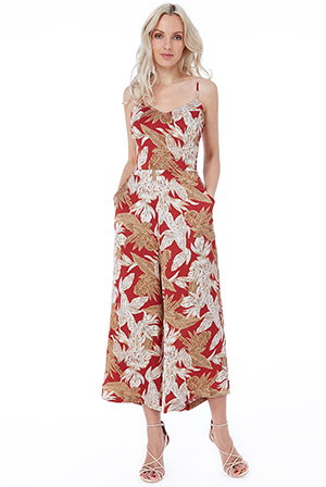 Wholesale-Leaf-Print-Culotte-Jumpsuit-DR2432