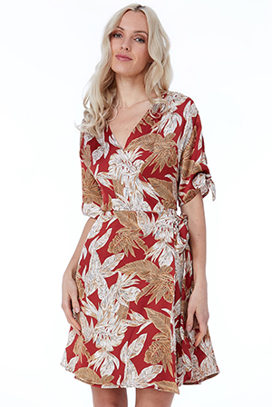 Wholesale-Leaf-Print-Midi-Dress-DR2438