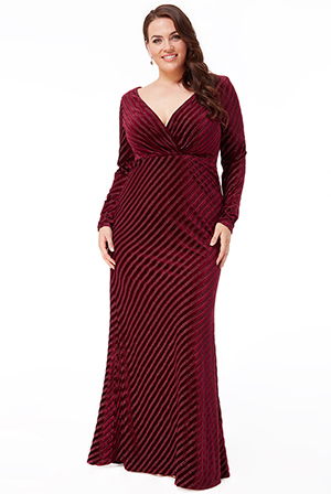 Wholesale-Plus-Size-Velvet-Stripe-Maxi-Dress-DR2460P