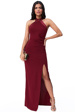 Wholesale-Diamante-Trim-Halter-Neck-Maxi-DR2474