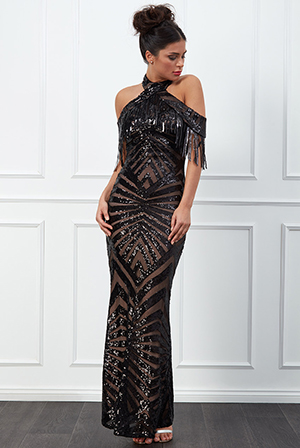 Wholesale-Fringe-Collar-Sequin-Maxi-Dress-DR2512
