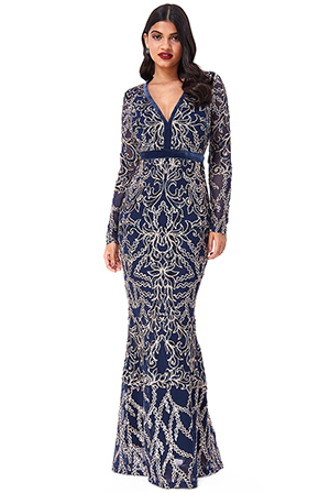 Wholesale-Sheer-Sleeve-Sequin-Maxi-Dress-DR2533