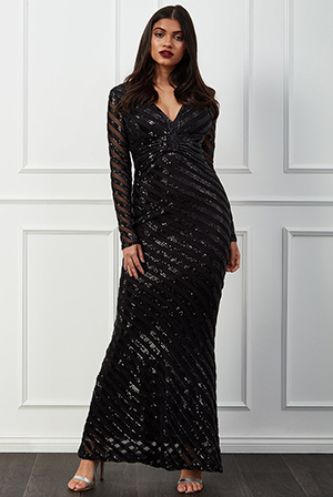 Wholesale-Sequin-Stripe-Front-Bow-Maxi-Dress-DR2535