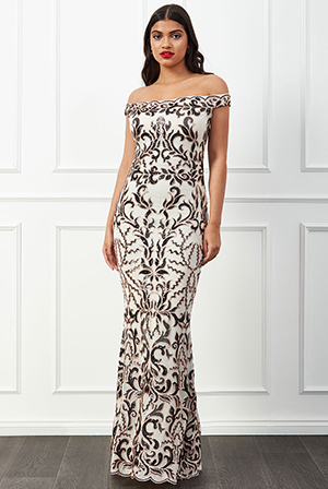Wholesale-Scalloped-Bardot-Sequin-Maxi-Dress-DR2543