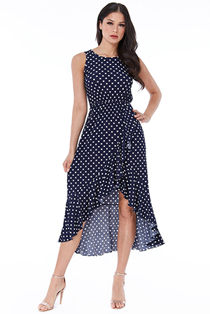 Wholesale-Polka-Dot-High-Low-Maxi-Dress-DR2544