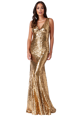 Wholesale-Sequinned-Low-V-Neck-Dress