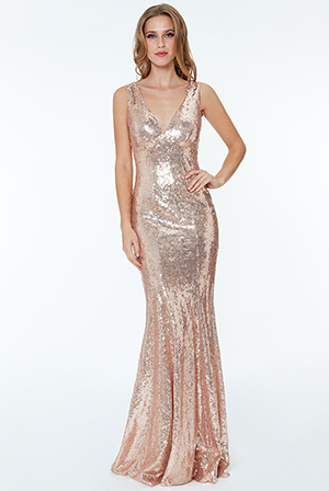 Sequinned-Low-V-Neck-Dress