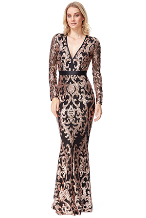 Wholesale-Embroidered-Sequin-and-Mesh-Maxi-Dress-DR2558