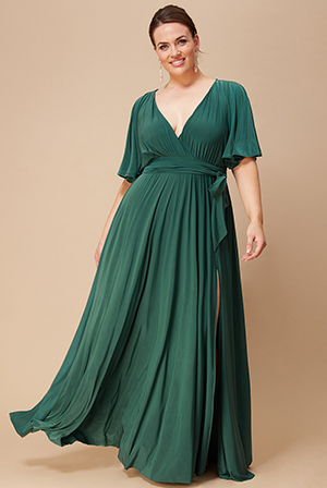 Wholesale-Plus-Size-Wrap-Front-Maxi-with-Flutter-Sleeves-DR2565P