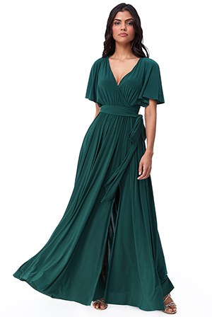 Wholesale-Wrap-Front-Maxi-with-Flutter-Sleeves-DR2565