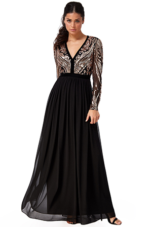 Wholesale-Sequin-and-Mesh-Bodice-Maxi-Dress-with-Chiffon-Skirt-DR2577